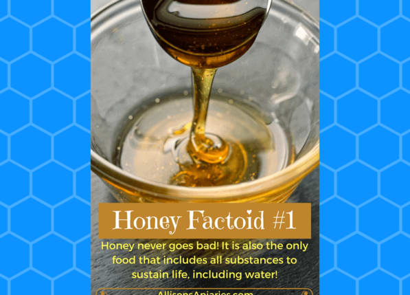 Honey never goes bad! It is also the only food that includes all substances to sustain life, including water!