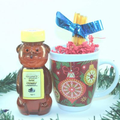 One 12 oz Honey Bear, Mug, and Honey Sticks Christmas Gift