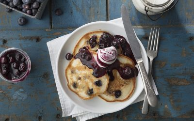 Blueberry Pancakes with Allisons' Apiaries Orange Blossom Blackberry Honey Butter
